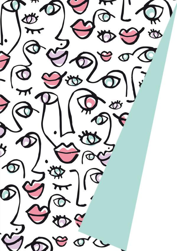 Doppelseitiges Geschenkpapier Mint mit Gesichtern