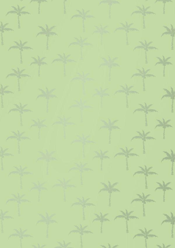 Limonengrünes Geschenkpapier mit sommerlichen Palmen