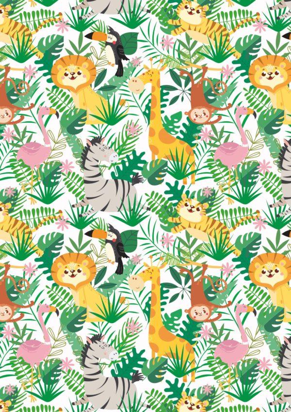Dschungel-Geschenkpapier Tiere für Kinder