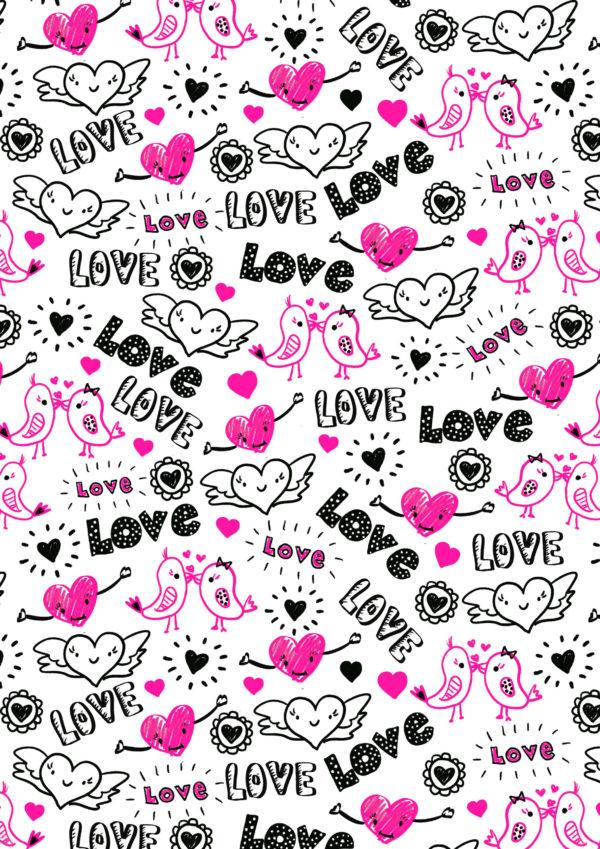 Schwarzes rosa Geschenkpapier mit Liebe