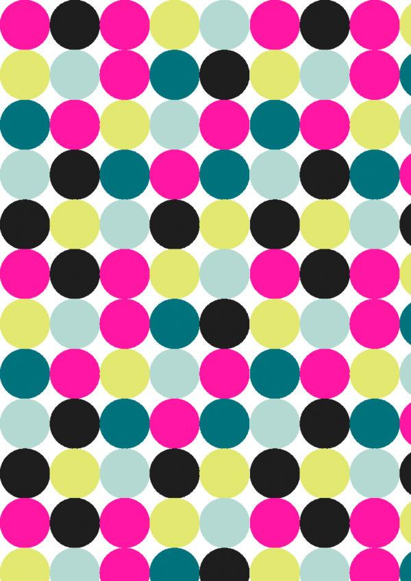 Geschenkpapier mit farbigen Neon-Punkten