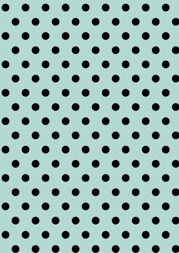 Mint Geschenkpapier mit schwarzen Punkten