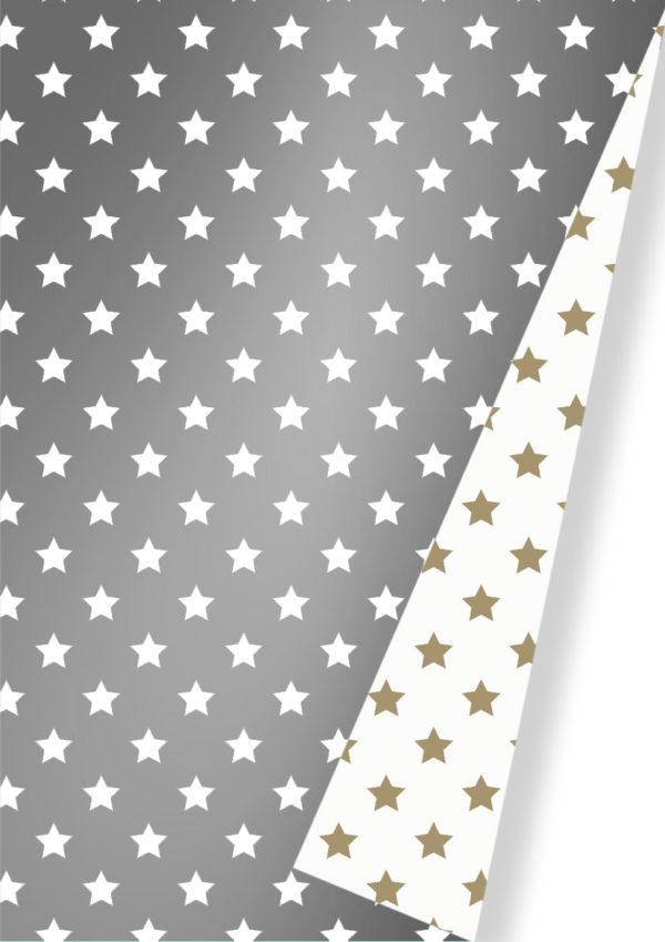 Doppelseitiges Geschenkpapier mit Sternen C4053