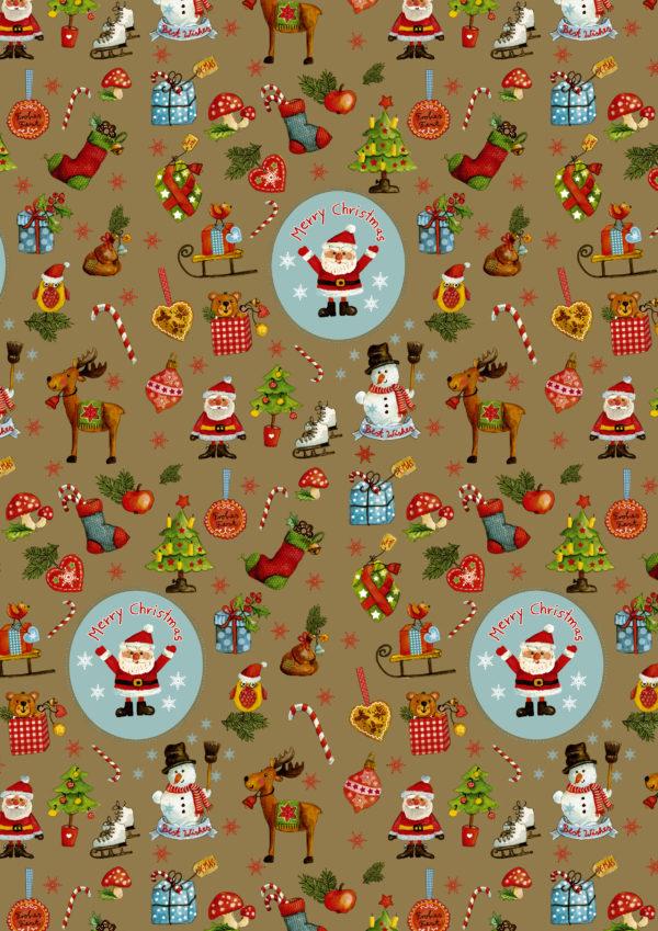 Goldfarbenes Weihnachtsgeschenkpapier Weihnachtsfiguren C4113