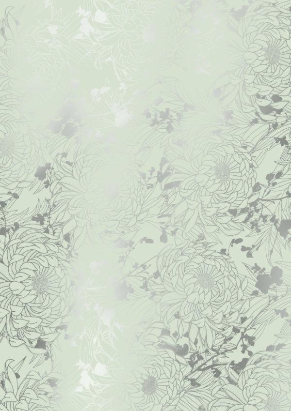 Geschenkpapier Mint mit Metallic-Blumen