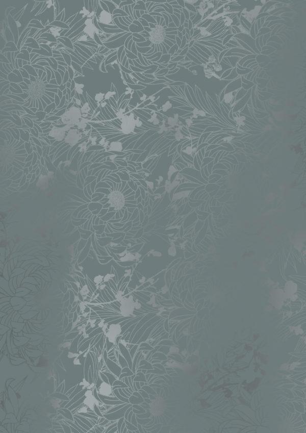 Geschenkpapier Dunkelgrau mit Metallic-Blumen