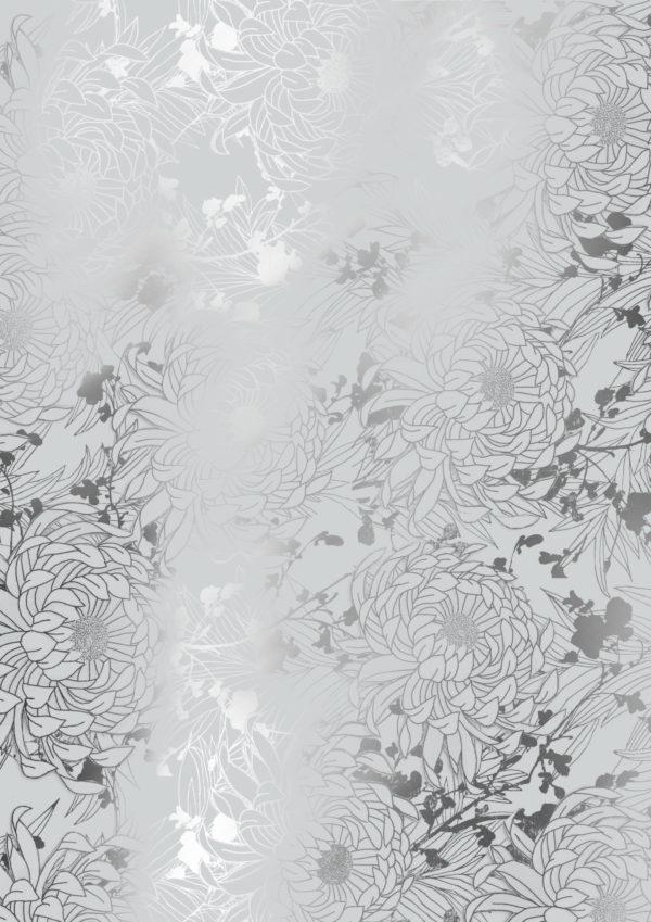 Geschenkpapier Silber mit Metallic-Blumen