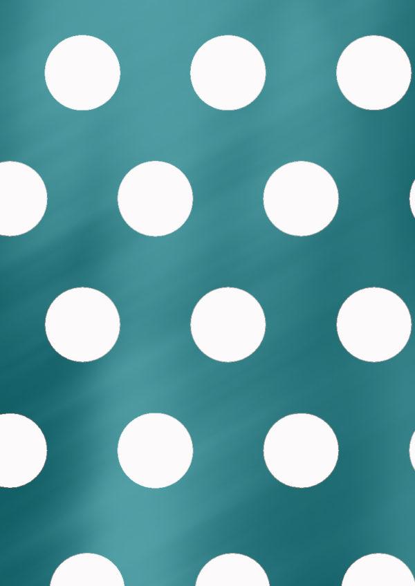 Türkisfarbenes Geschenkpapier mit weißen Punkten