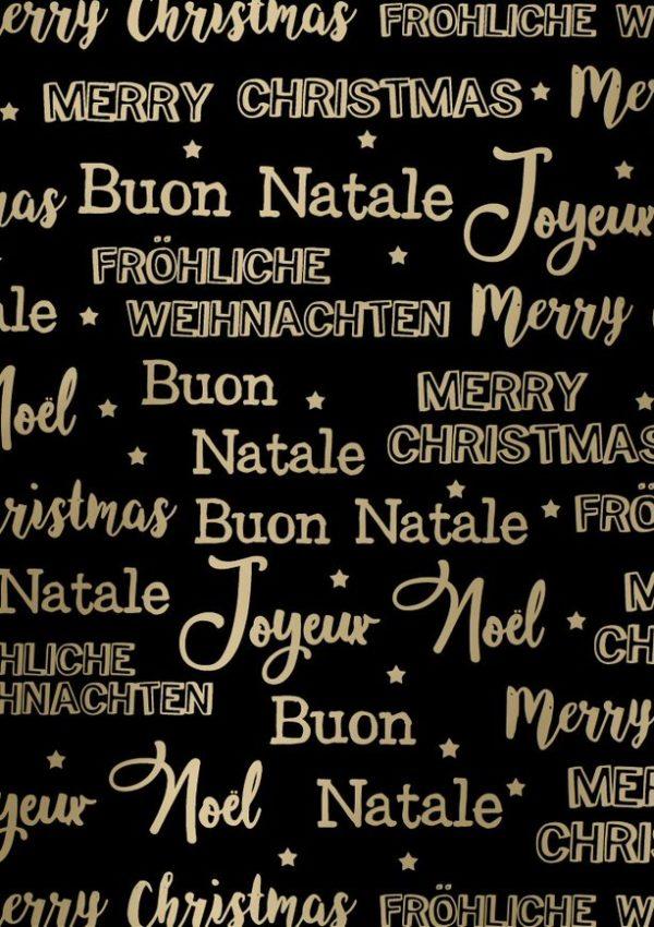 Geschenkpapier Frohe Weihnachten Metallic Schwarz Gold