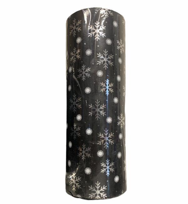 Schwarzes Geschenkpapier mit Schneeflocken C4141