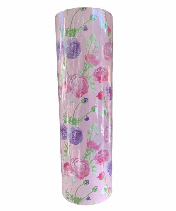 Rosa Geschenkpapier mit Blumenmotiv C4145