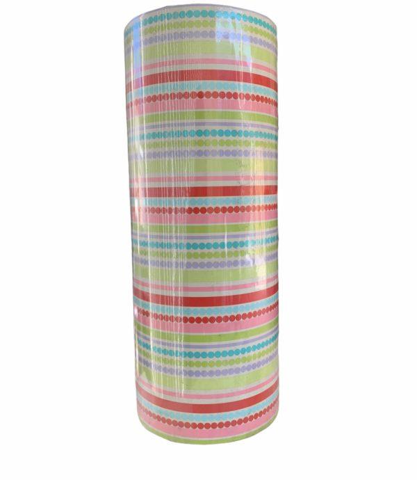 Farbiges Geschenkpapier Streifen Dots C4140