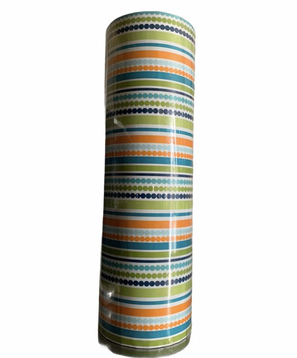 Groen Inpakpapier Strepen Stippen C4147