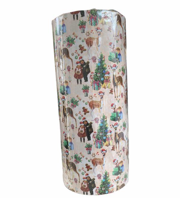 Lachsfarbenes Geschenkpapier Weihnachtsmotiv C4155