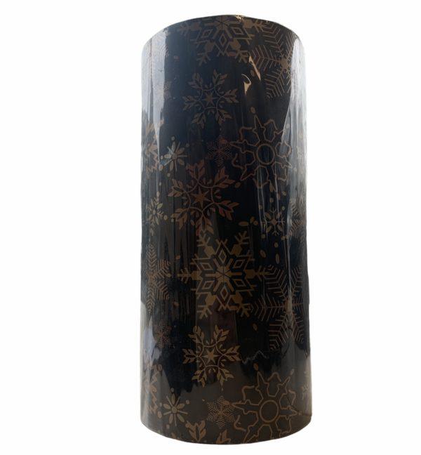 Weihnachten Papier schwarz mit Schneeflocken C4164