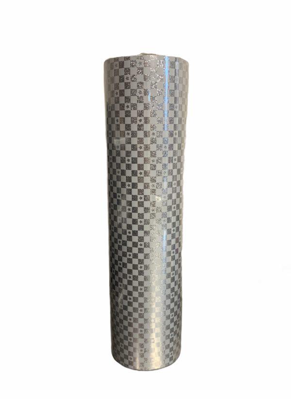 Silbernes Weihnachtspapier mit Sternen C4166