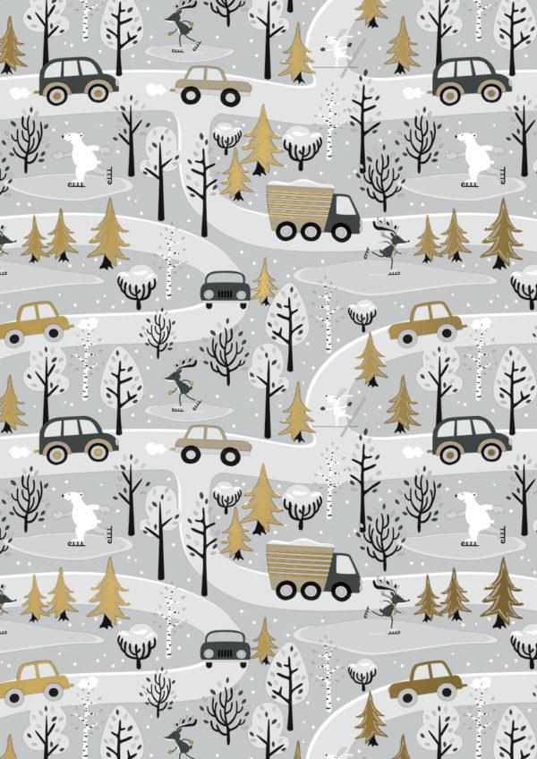 Weihnachtspapier Winterspaß Geschenkpapier