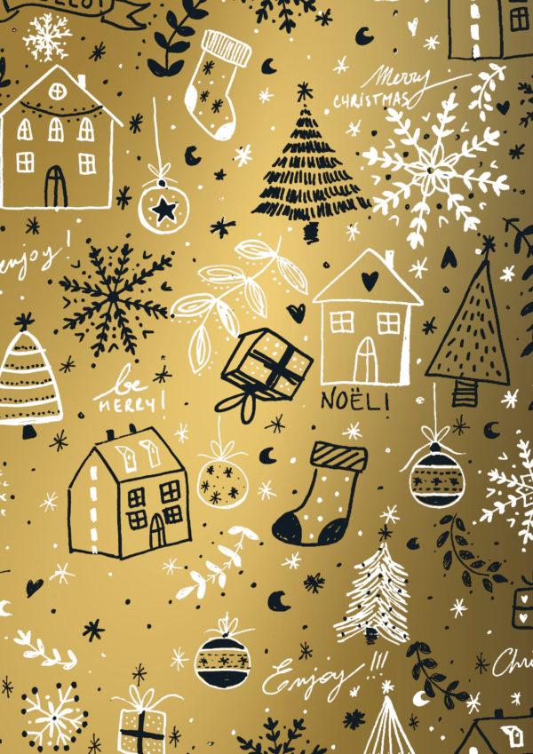 Geschenkpapier Weihnachten Gold Happy Holidays