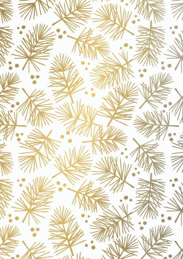 Weihnachtsgeschenkpapier Pinienapfel Gold
