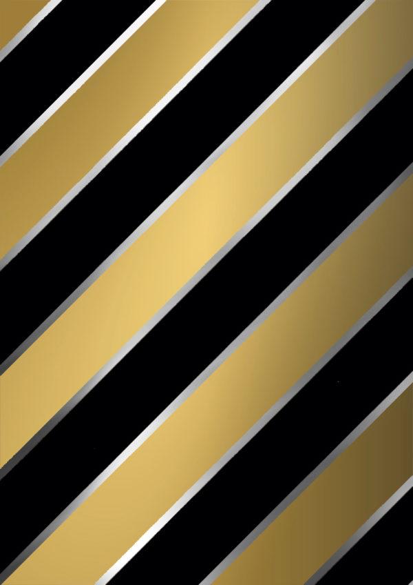 Schwarz Gold Geschenkpapier Diagonale Streifen