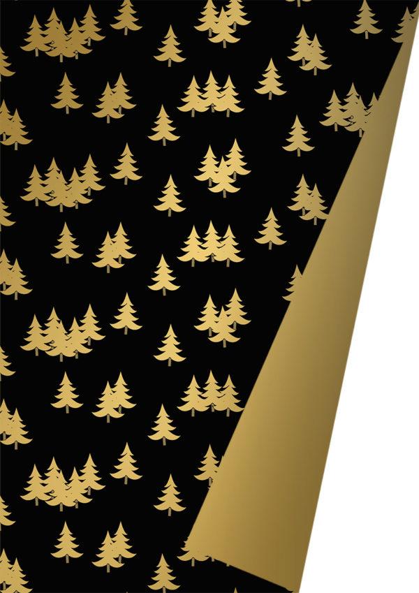 Weihnachtspapier Schwarz Gold mit Weihnachtsbäumen