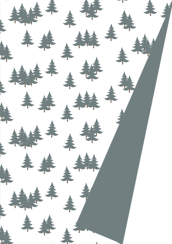 Weihnachtspapier Xmas Trees Grau