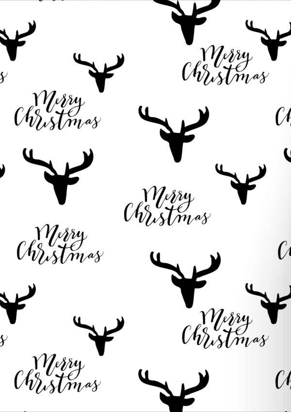Geschenkpapier Weihnachten Rentier Schwarz und Weiß