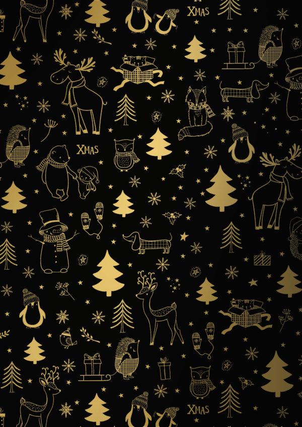 Weihnachtsgeschenkpapier Schwarz Gold