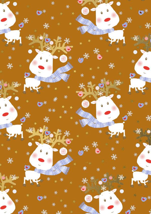 Weihnachtsgeschenkpapier Rudi Rentier Orange
