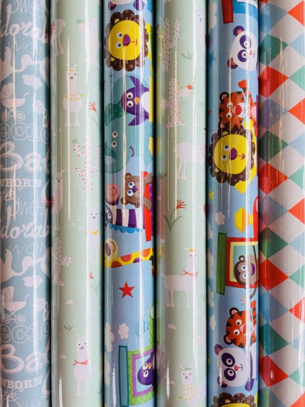 Geschenkpapier Baby Multi 6 kleine Rollen