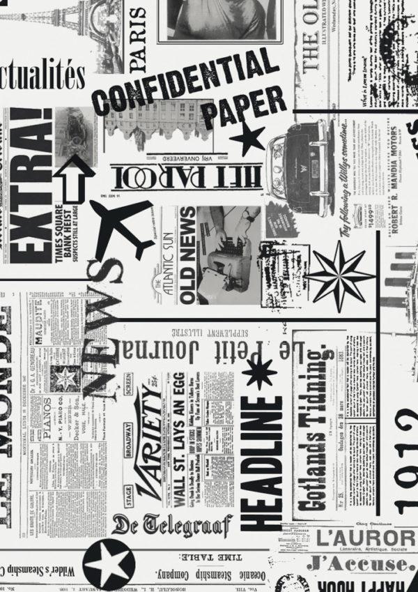 Rolletjes Inpakpapier Zwart Wit Newspaper