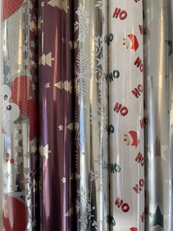 Weihnachtsgeschenkpapier 6 Rollen Rot Silber