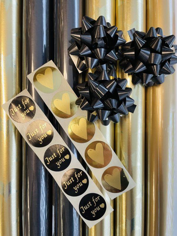 Verpackungsset Weihnachten Gold Schwarz inkl Aufklebers