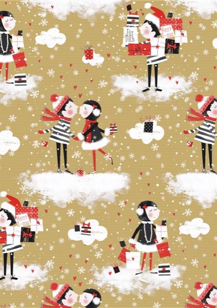 Weihnachtsgeschenkpapier Kissing Kraft