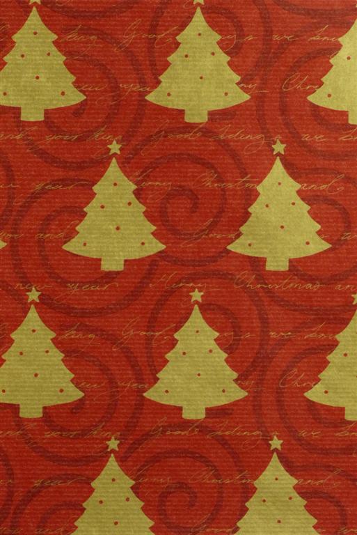 Geschenkpapier Kraft Weihnachtsbäume rot