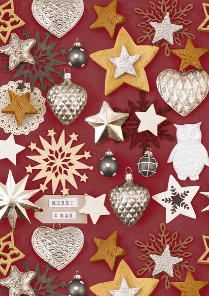 Kerstpapier Rood met Kerst Ornamenten