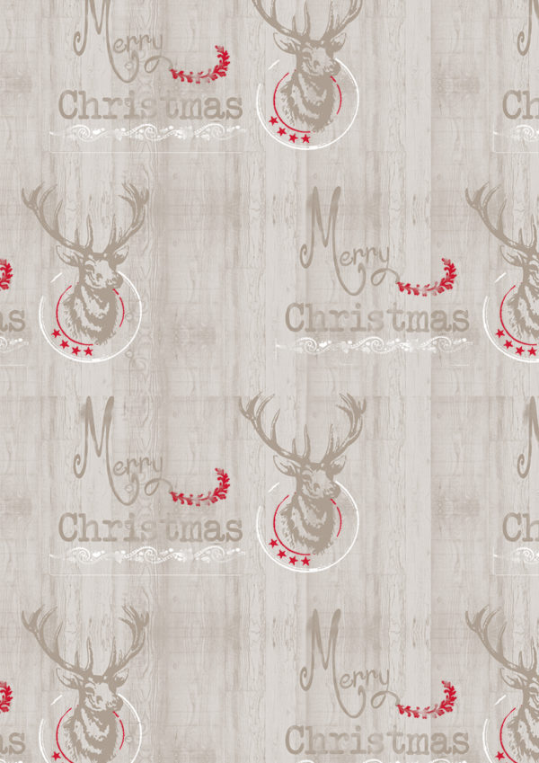 Weihnachtspapier Geschenkverpackungen Rentier Taupe