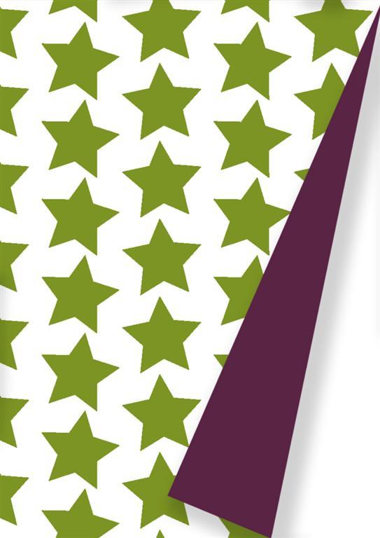 Weihnachtspapier Grüne Sterne Doppelseitig