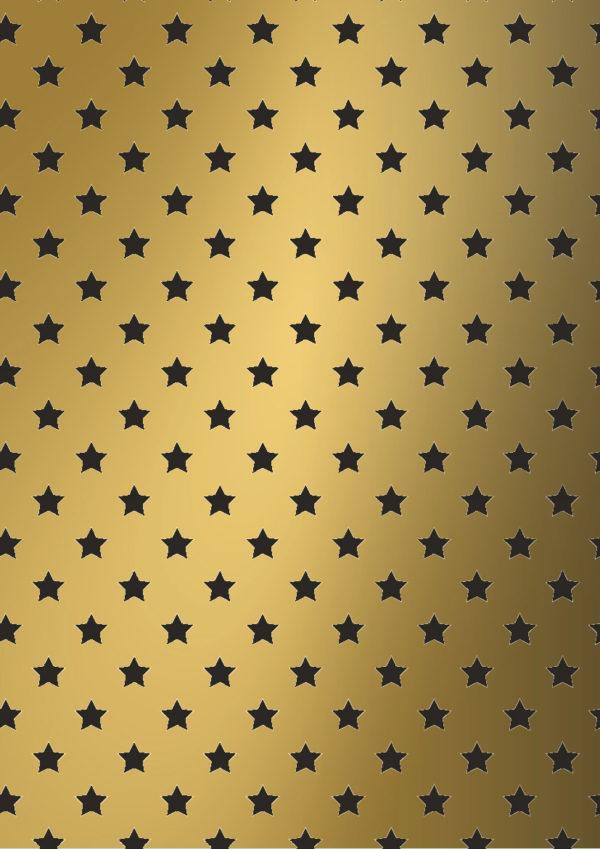 Weihnachtsgeschenkpapier Gold mit schwarzen Sternen