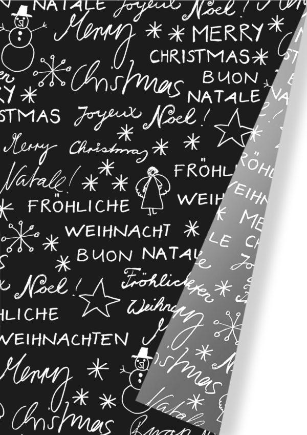 Weihnachtspapier Frohe Weihnachten in verschiedenen Sprachen.
