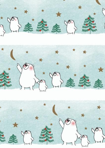 Weihnachtspapier hellblau Papa Bär