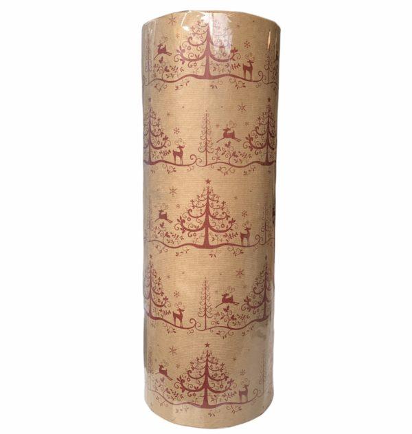 Kraft Weihnachtspapier Rentier Rot