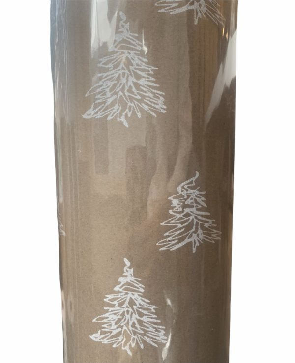 Geschenkpapier Weihnachtsbäume weiß